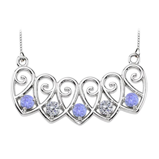 Fine Jewelry Vault UBUPDS85613AGCZTZ5 Sterling Silver Tanzanite and Cubic Zirconia Mothers Necklace Mounting by Fine Jewelry Vault