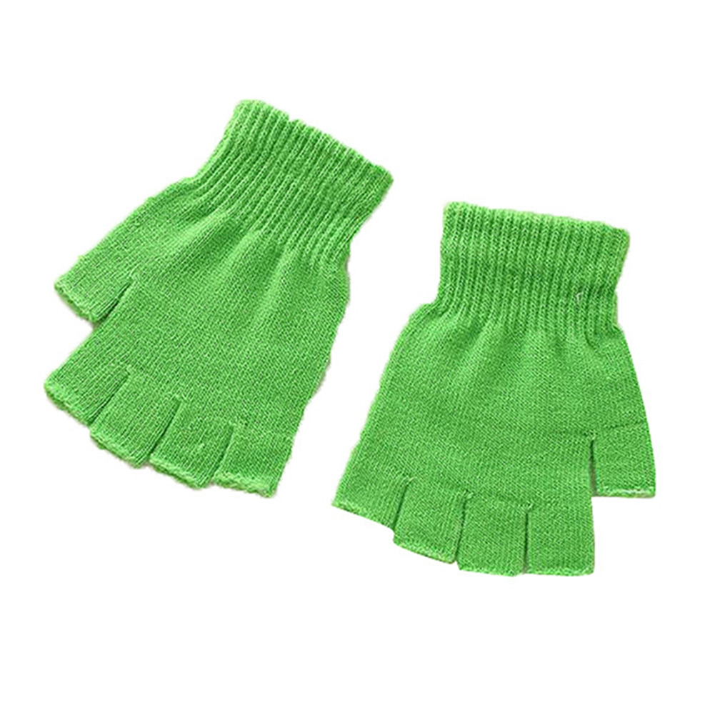 Unisex Plain Basic Fingerless Winter Gloves Green