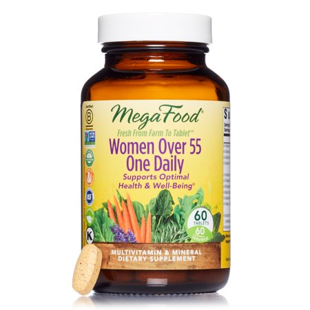 MegaFood - Women Over 55 One Daily, Multivitamin Support for Healthy Energy Production and Strong Bones with Vitamins C and D3, and Methylated Folate, Vegetarian, Gluten-Free, Non-GMO, 60
