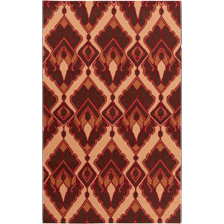 2 39 x 3 39 crowning glory orange red and brown hand woven wool area throw rug. Black Bedroom Furniture Sets. Home Design Ideas
