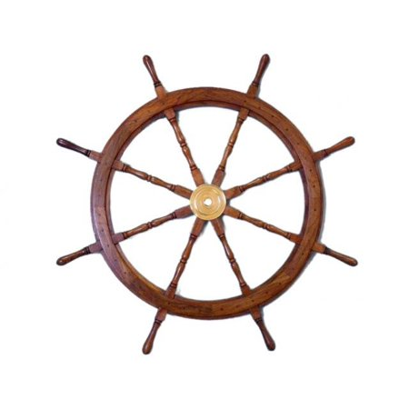 Brass And Wood Ship Wheel 36