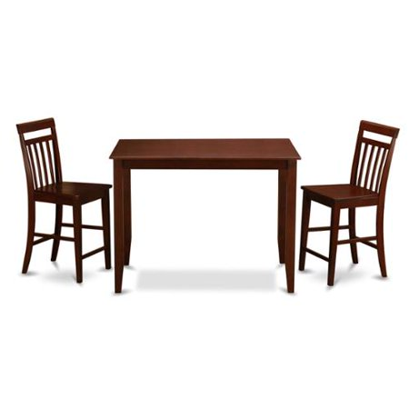 Mahogany counter height table and 2 kitchen chairs 3 piece for Two seat kitchen table