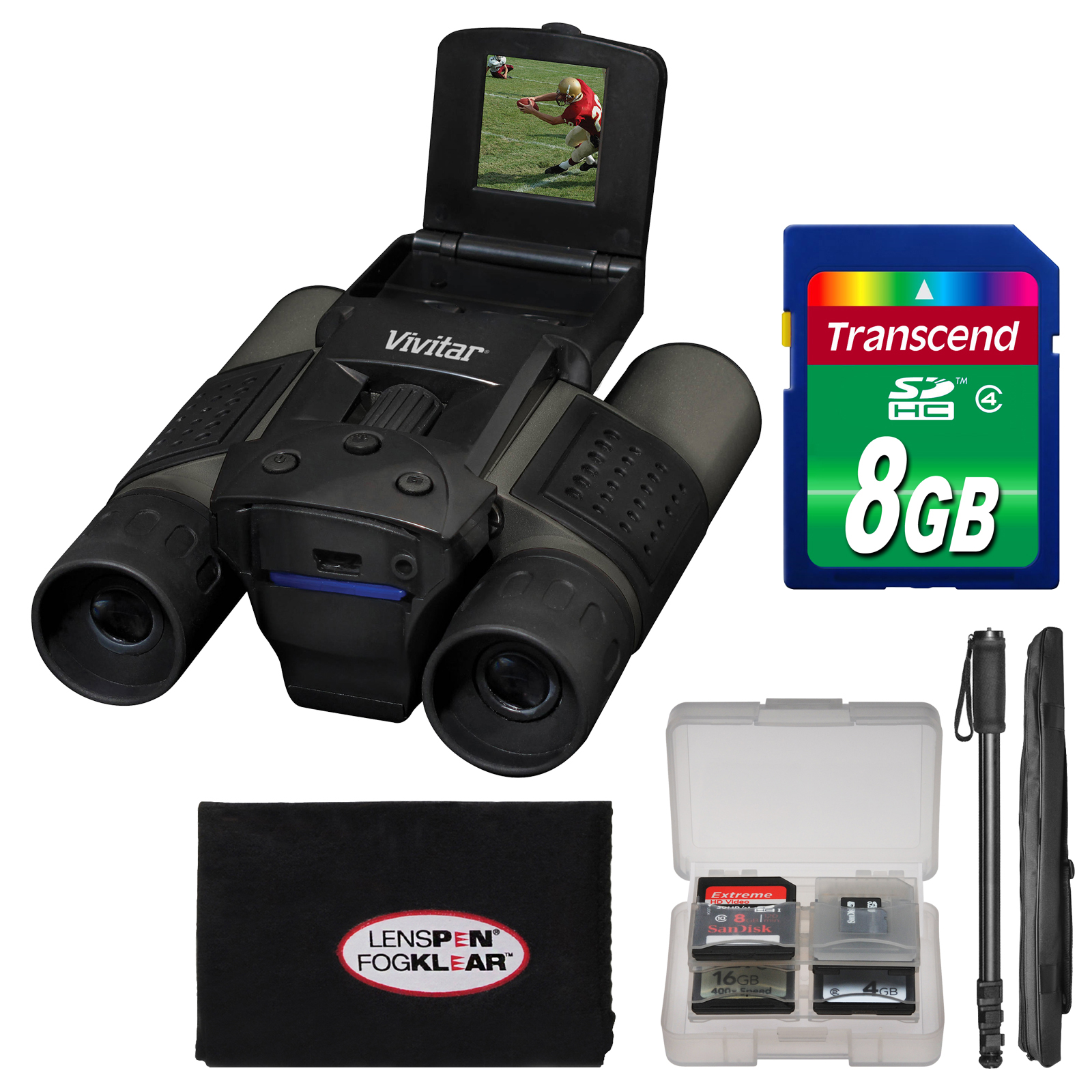 Vivitar 10x25 Binoculars with Built-in Digital Camera with 8GB Card + Monopod + FogKlear Cleaning Cloth + Kit by Vivitar