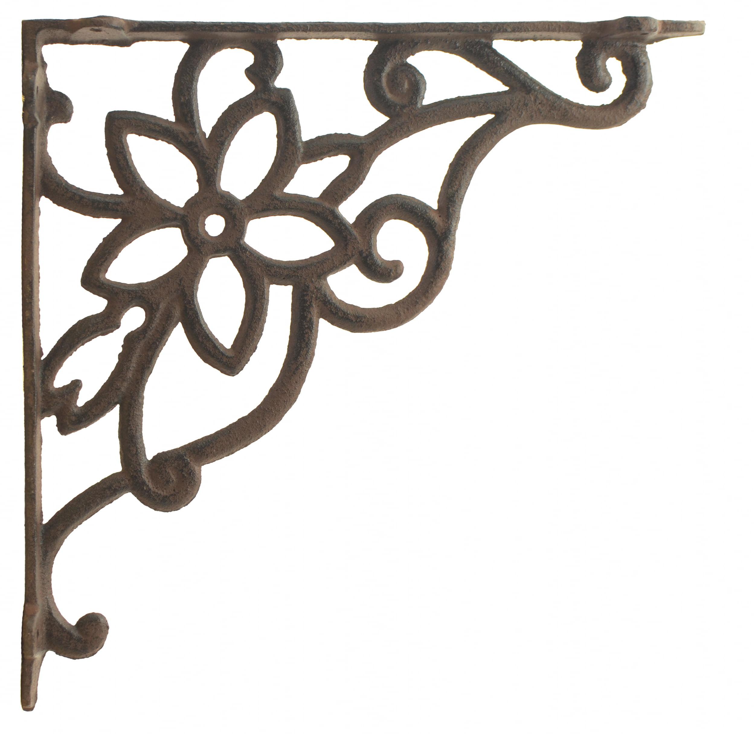 Cast Iron Wall Shelf Bracket Vine Flower Rust Brown 9 625 Deep Walmart Com