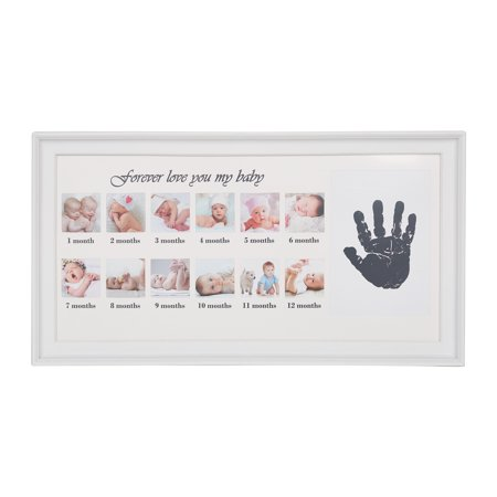 KARMAS PRODUCT First Year Baby Picture Frame 12 Photo Moments Photo Frame and Newborn handprint keepsake