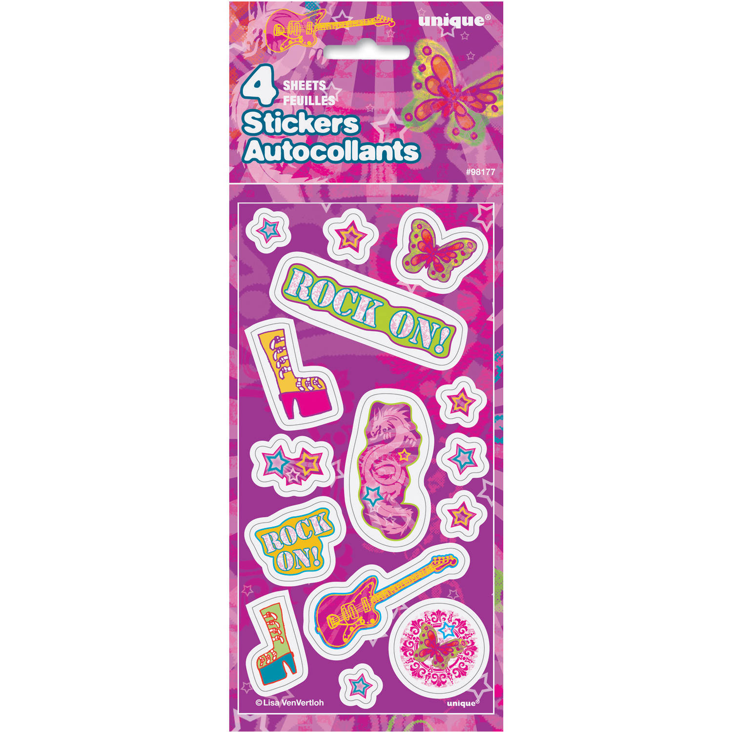 Rock Star Girls Party Sticker Sheets, 4-Count