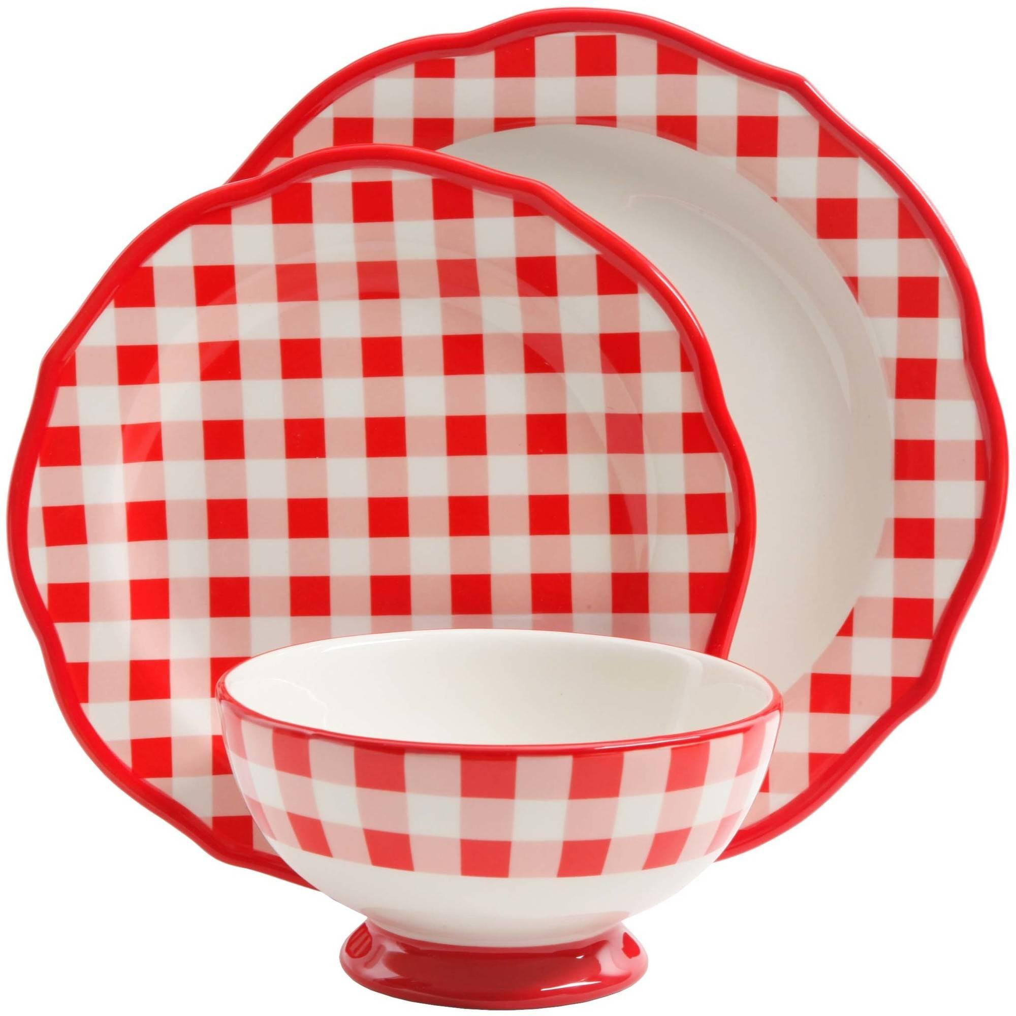 Gingham Checkered Dinnerware Sc 1 St