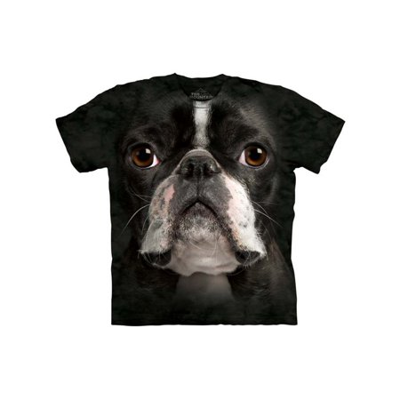 Black 100% Cotton Boston Terrier Realistic Graphic T-Shirt