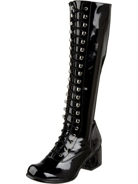 24f14abc7a3 Product Image Womens Combat Boots Black Knee High Lace Up 2 Inch Block Heel