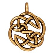 22K Gold Plated Pewter Celtic Open Knot Pendant Charm 30mm (1)
