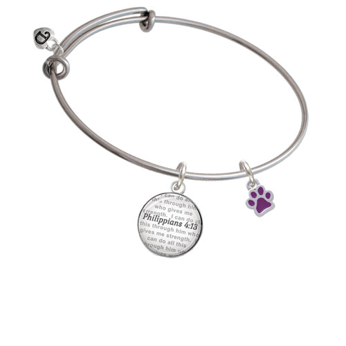 Mini Translucent Green Paw Bible Verse Philippians 4:13 Glass Dome Bangle Bracelet by Delight and Co.