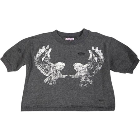 Purple Orchid - Big Girls Short Sleeve Crop Sweatshirt Charcoal / 12