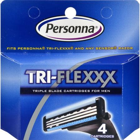 Personna Tri-Flexxx Razor System for Men Cartridge Refill - 4 Cartridges Soap System Refill Cartridges
