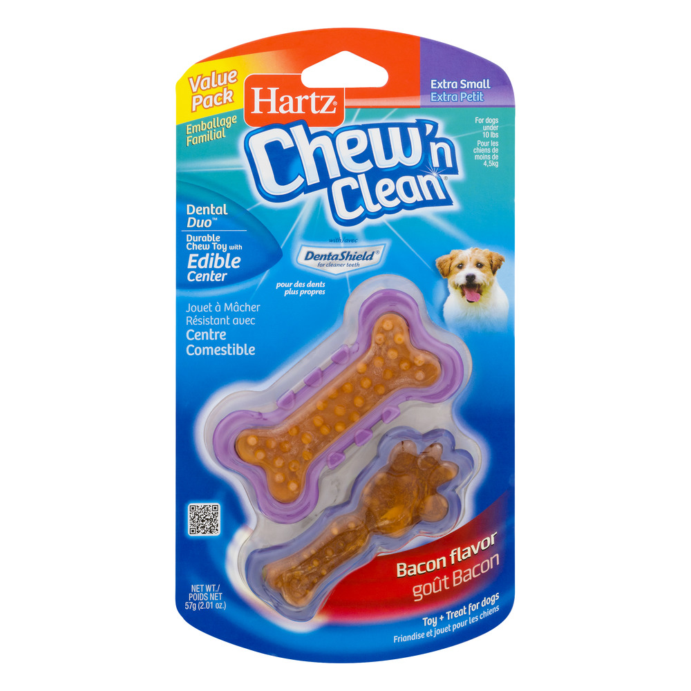 Hartz Dental Duo Bone-Shaped Toy and Treat Combination for Small Dogs, 2-Pack
