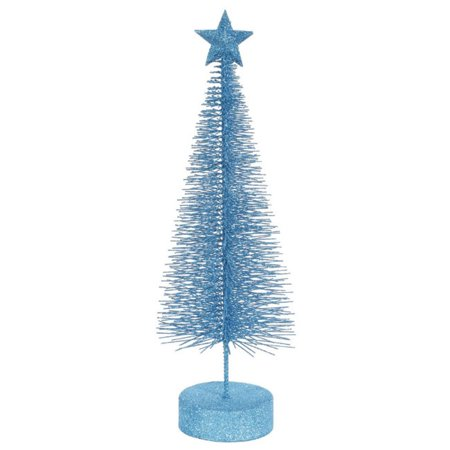 Pack of 2 Turquoise Blue Glitter Sisal Artificial Table Top Christmas Trees 12