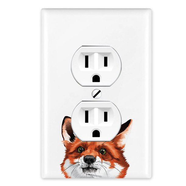 Wirester 1 Gang Duplex Outlet Cover Wall Plate Switch Plate Cover Animal Red Fox Walmart Com Walmart Com