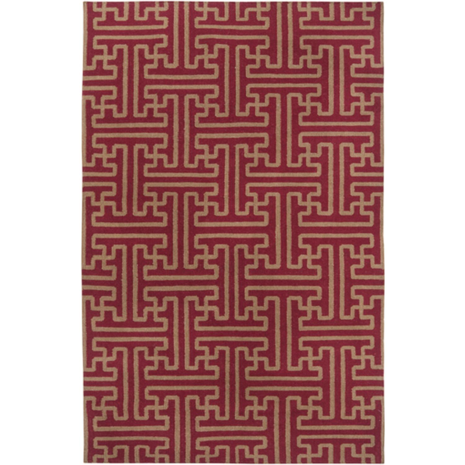 5' x 8' Block Pillars Brown and Maroon Red Wool Area Throw Rug