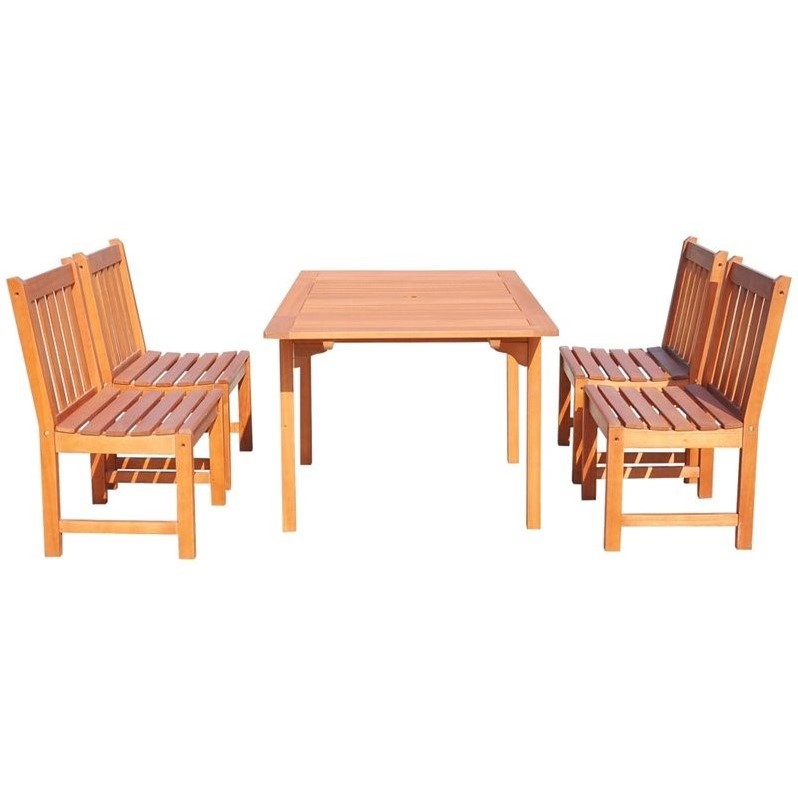 Vifah Malibu 5-Piece Extendable Patio Dining Set in Natural