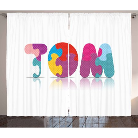 Tom Curtains 2 Panels Set, Children Newborn Themed Colorful Boy Name Design Abstract Educational Puzzle Pattern, Window Drapes for Living Room Bedroom, 108W X 63L Inches, Multicolor, by (Best Room Temperature For Newborn)
