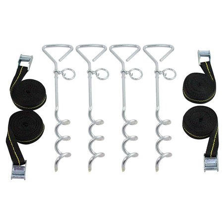 Vehicle Tie Downs (Trampoline Anchor Kit - Heavy Duty Tie Down System - Set of 4 - Tie Downs with Ground Stakes )