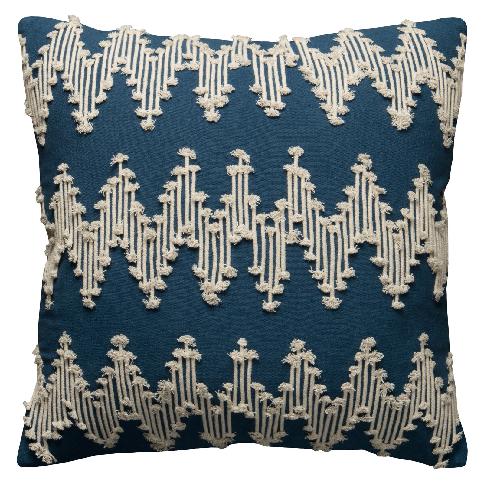 "Rizzy Home Chevron Embellished Decorative Throw Pillow with Zipper Closer, 20"" x 20"""