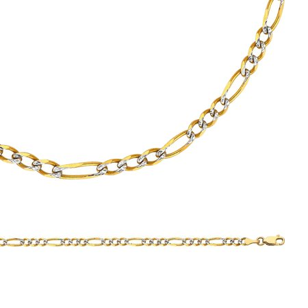 Figaro Chain Solid 14k Yellow White Gold Necklace Pave Diamond Cut Link 3+1 Two Tone, 4 mm - 18,20,22,24 inch