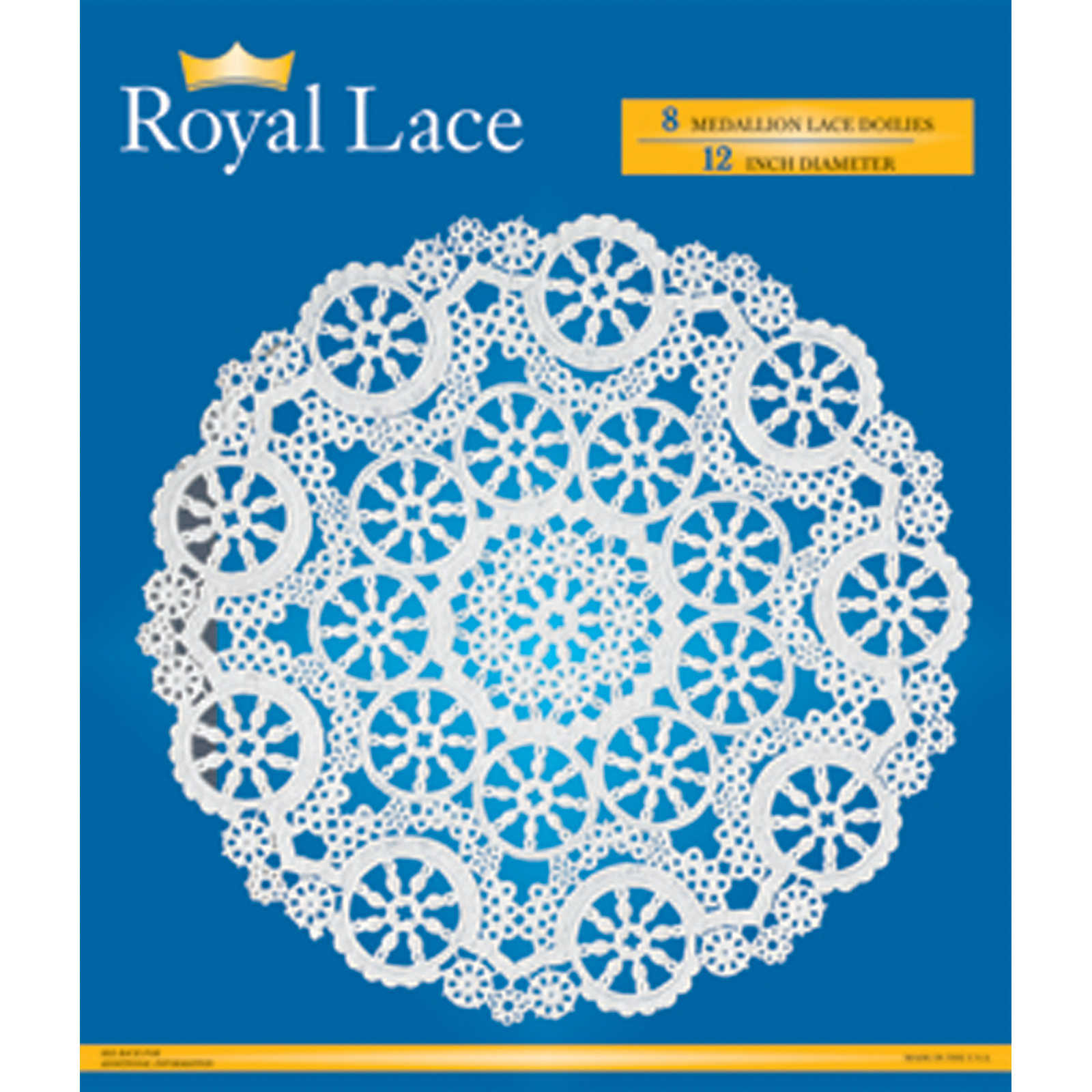 """Royal Lace Doilies, White, 12"""" - Pack of 8"""