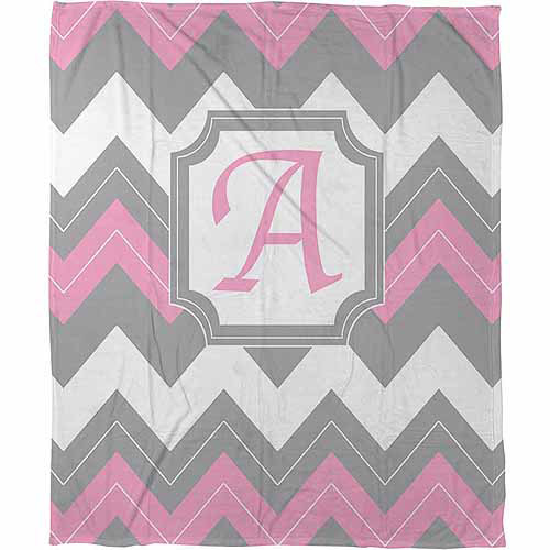 Thumbprintz Chevron Monogram Fleece Throw, Pink