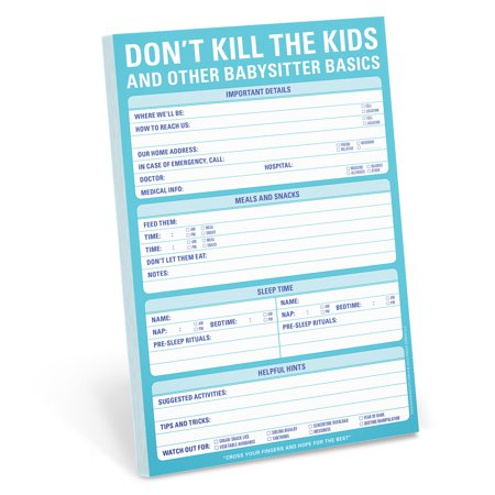 Don't Kill the Kids and Other Babysitter Basics Notepad Stationery - Children's Stationery