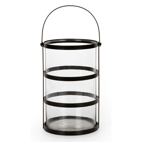 Candle Holder - Round - Glass and Metal - 6.3 x 6.3 x 9.8 inches