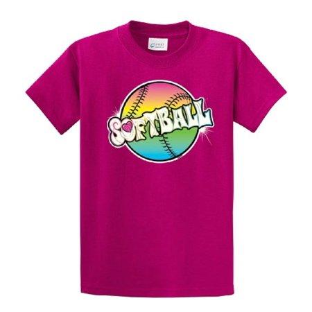 Softball T-Shirt Rainbow Softball-fuschia-small