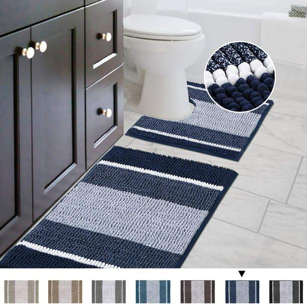 Gy 2 Piece Bath Rug Set Ombre Navy, Bathroom Contour Rug