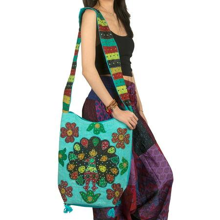 Peacock Fabric Handbags - Tribe Azure Hobo Peacock Shoulder Bag Women Handbag Messenger Crossbody Casual Blue Sling Slouch Hippie