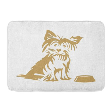 GODPOK Breed Black Hairy Yorkshire Terrier and Bowl White Animal Clipart Rug Doormat Bath Mat 23.6x15.7 inch