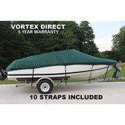 NEW *GREEN* VORTEX HEAVY DUTY VHULL FISH SKI RUNABOUT COVER FOR 20' TO 21' TO 22' BOAT (FAST SHIPPING - 1 TO 4 BUSINESS DAY DELIVERY)