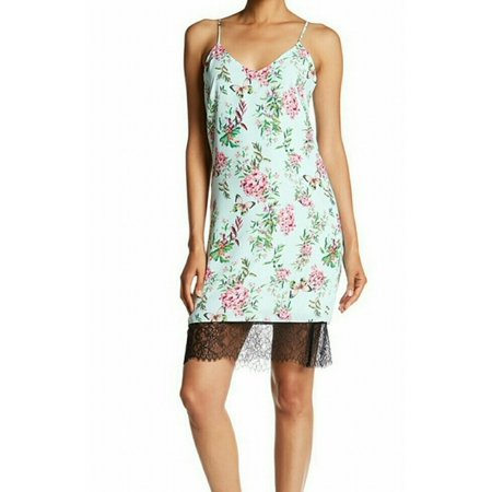Adelyn Rae NEW Green Women's Size Medium M Lace Floral Slip Dress