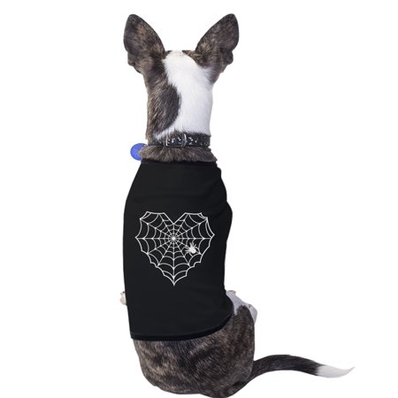 Halloween Dogs Funny (Heart Spider Web Black Pet Shirt Funny Graphic Small Dog Shirt)
