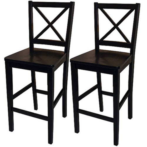 "Virginia Cross-Back Counter Stools 24"", Set of 2, Black"