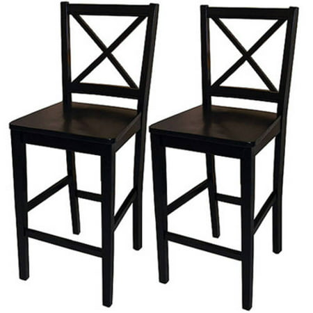 Virginia Cross Back Counter Stools 24 Quot Set Of 2 Black
