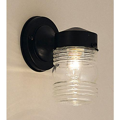 Designers Fountain One Light Wall Lantern, Black Finish with Clear Glass