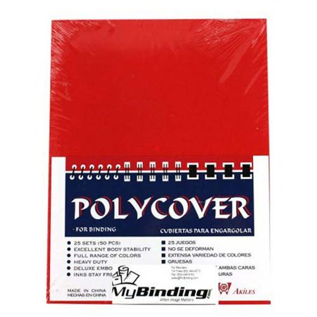 """16mil Red Leather Grain 8.75"""" x 11.25"""" Poly Covers - 50/Pack, By Akiles"""