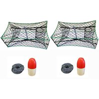 """KUFA 2-Pack of Galvanized Foldable Crab Trap 1/4"""" X 100' Non-Lead Sinking Line and 5""""X11"""" Red/White Float Combo"""