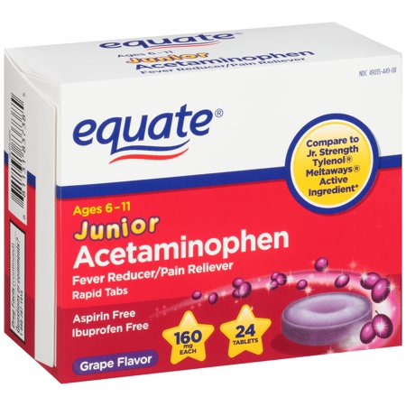 Equate Junior Strength Acetaminophen Grape Flavor Tablets 160 Mg 24 Ct
