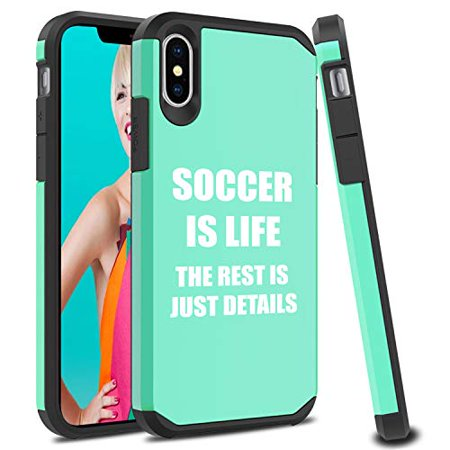 Shockproof SI Impact Hard Soft Case Cover Protector for Apple iPhone Soccer is Life (Mint, for Apple iPhone XR)