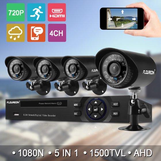 FLOUREON Home Security Camera, 4CH 1080N AHD DVR + 4 X