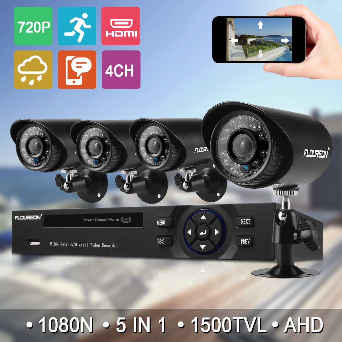 Floureon 4CH House Camera System DVR 1080N AHD + 4 Outdoor/Indoor Bullet Home Security Cameras 1500TVL 720P 1.0MP AHD Resolution Night Version for House/Apartment/Office