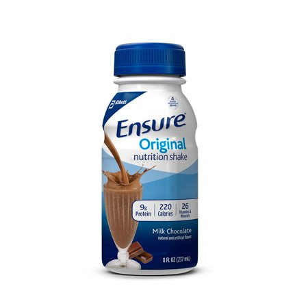 Ensure Original Nutrition Shake Milk Chocolate with 9 grams of protein, Meal Replacement Shakes, 8 fl oz Bottles (Pack of 16)