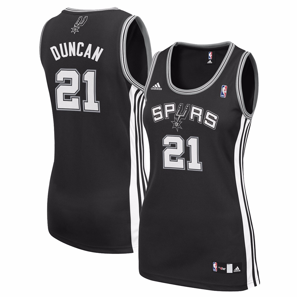 Tim Duncan San Antonio Spurs NBA Adidas Black Official Team Color Road Away Replica Jersey For Women