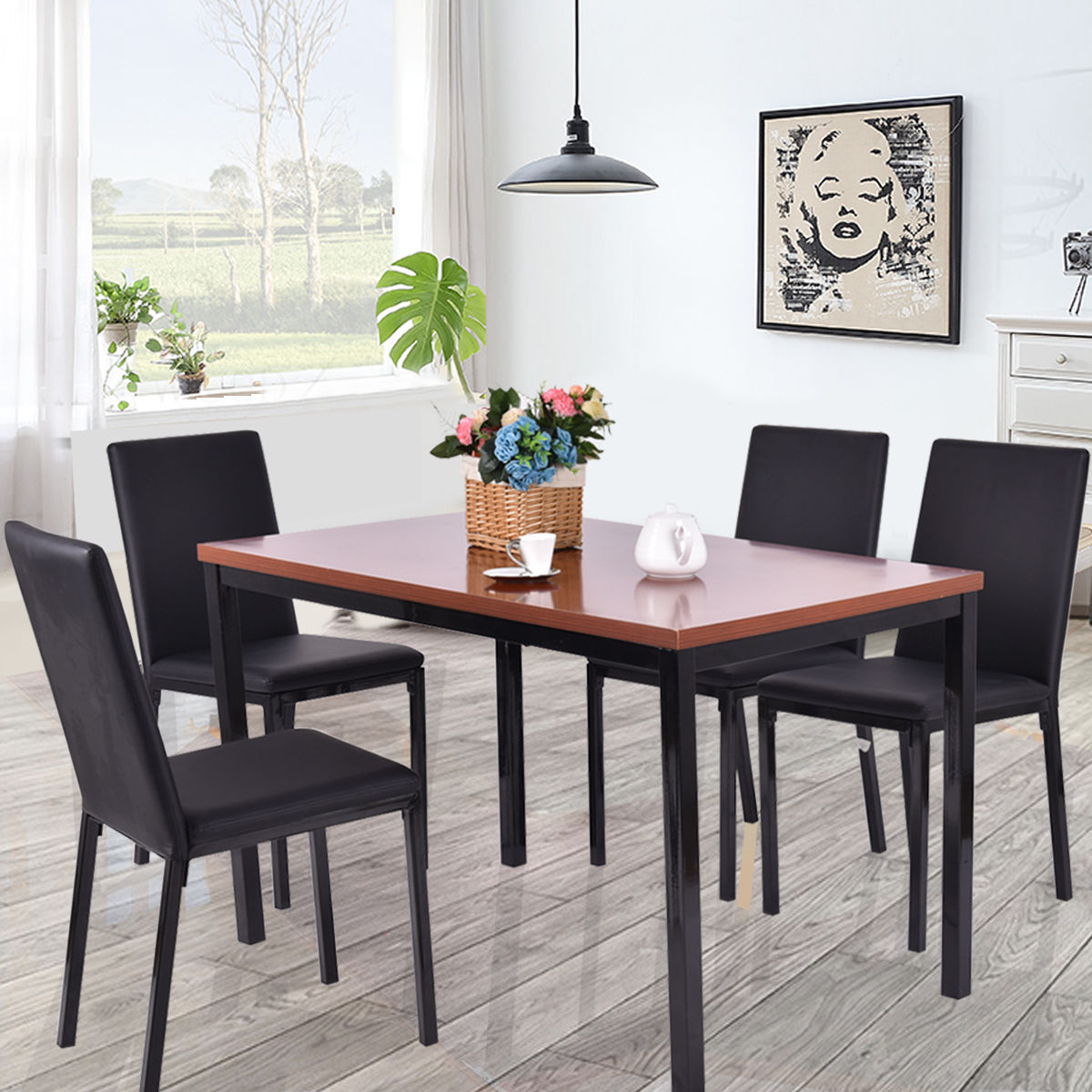 Click here to buy Costway 5 PCS Dining Table Set 4 PU Leather Chairs Home Kitchen Breakfast Furniture by Costway.