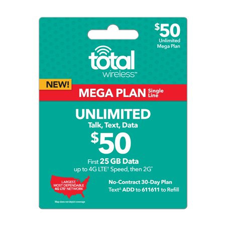 Total Wireless $50 Mega UNLIMITED Individual 30 Day Plan (with 25GB of data at high speeds, then 2G?) (Email